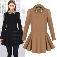 Vintage Elegant Dresses Autumn Winter Polo Color Long Sleeve Chiffon Pleated Dress Slim Waist Short Vestido Festa Feminina 6251