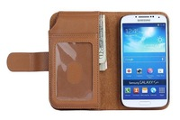 Hot Shopping Wallet Purse Leather Holster Case for Samsung Gaxaly S4 i9500 + 2pcs film Free shipping