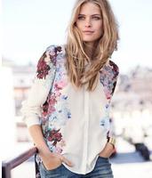 Free shipping!2014 hot sale women's shirts White See-Through Women Loose Button Down Shirt Lapel Chiffon Floral Shirt G0148