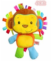 Candice guo! hot sale cute animal colorful happy monkey baby toy rattle soft plush placate toy 1pc