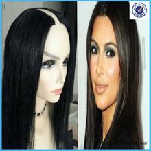 Menor U- parte peruca 100% cabelo humano Índia virgem reta perucas Frete Grátis(China (Mainland))