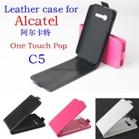 2014 new Up Down Open Flip Leather Case Cover For Alcatel One Touch Pop C5 5036 OT5036 5036D Phone free shipping