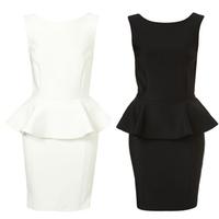 Women Summer Dress 2014 Casual Work Wear Sweet Ladies Dress Plus Size  Solid Slim Ruffles Mini Party Sexy Dress 9239