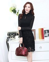 2014 HOT Selling European and American retro palace style lace stitching dress Casual Slim Hollow Patchwork One-piece Dress M683