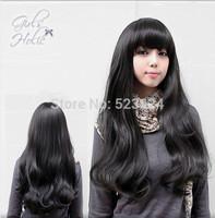 Womens Girls Popular Sexy Long Fashion Full Wavy Hair Wig Hairnet Black