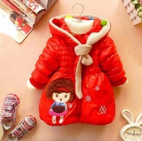 New winter warm cartoon coats jackets hoody for children girls baby infants girls cotton balls Shawl Collar scarves coat