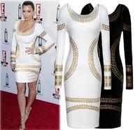 Top New Fashion Bandage Dress Women Brand Celebrity Black White Long Sleeve Sexy Party Dresses Sexy Slim Print Dress Plus Size