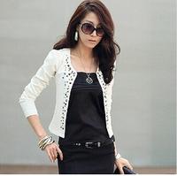 2014 new winter Cozy women clothes Shawl Coat Comfortable leisure slim Wild suit  jacket lady  black white S.L.M