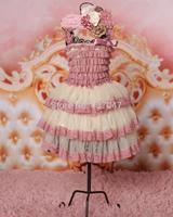 Top quality Trend Design rose lace cream Chiffon dress Vintage Style NewBron Party dress Cute girls dress