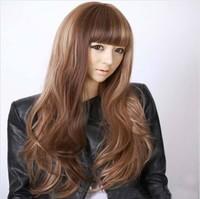 European women Fashion Long blonde wigs brown Synthetic big wavy hair style Sister wig
