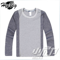 Hot!!!2014 New  Hip-hop men T-shirt Fashion splicing jean fabric knitted cotton round collar leisure men's long-sleeved T shirt