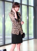 Free shipping ladies blazer leopard feminino S/M/L