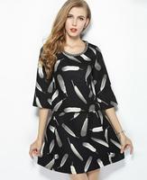 Women's Dress New 2014 Designer Women Casual Print  Dress Black White