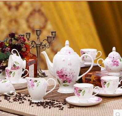 15 head bone syringa high grade bone China coffee set fashion gift set bone porcelain ceramic