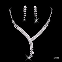 In Stock 2014 wedding jewelry sets for brides silver plated wedding accessories rhinestone wedding jewelry sets bridal 15023
