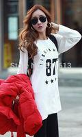 new han edition code type big women's T-shirt In the long sleeve long render unlined upper garment