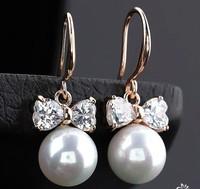 Elegant Top Quality Cubic Zirconia Bow Shaped Pearl Dangle Bridal Earrings. Hot Korean Fashion Women Jewelry Accessories