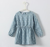 Kids denim round print dress ,dresses for girls , children's clothing , 5pcs/lot   TL01