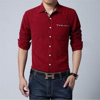 Free shipping men's long-sleeved Slim  corduroy shirt ,  large size men shirt  M,L,XL,2XL,3XL