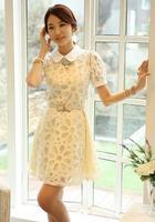 Women's Dress New 2014 Summer Designer Women Casual Dress Short Sleeve Blue White