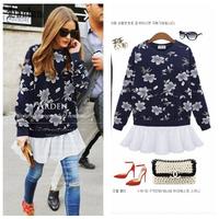 Lanluu New Fashion Sweatshirts ! 2014 Autumn and Winter Tops O-neck Flowers Patchwork Fake Piece Casual Women Sweatshirts NM460