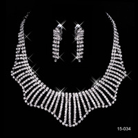 In Stock 2014 Hot silver wedding jewelry sets for brides wedding accessories Rhinestone wedding jewelry sets bridal 15034
