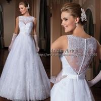 Custom Made Vestido de Noiva 2014 A-Line See Through Back Sheer Wedding Dresses Vestido de noiva Barato Vestido de Noiva Renda