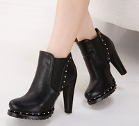 2014 women's shoes black martin rivets ankle boots thick heel  autumn and winter high heels pumps 555-1