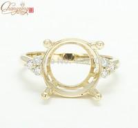 14k Yellow Gold 12mm Round Cut Natural 0.20ct Full Cut Diamond Ring Mounting Jewelry