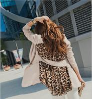 Ladies blazer black khaki leopard chiffon splicing feminino M/L/XL Free shipping