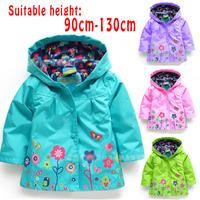 Girls Winter Coat Jacket Hooldies 2014 New Spring/Autumn Candy Color Kids Jackets Children Coats Flower Print Children Outerwear