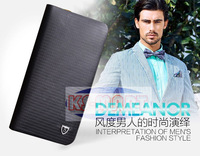 Free shipping new 2014 brand genuine leather men's wallet clutch money bags for men black brown purse KM1190