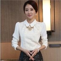 New Spring 2014 Women Crochet Blouse Lace Shirt Women Clothing Basic Shirt Vintage Blusas Femininas Blouses & Shirts