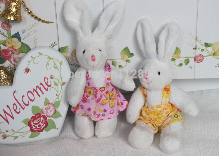 6 pieces/iot stuffed animal bunny Easter, Valentine's Day lovers rabbit gifts dressed rabbit toys for children(China (Mainland))