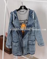 2014 Autumn new design women's preppy style medium-long plus size denim jackets women with a hood long-sleeve denim outerwear