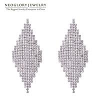 Neoglory Rhombus Rhinestone Charm Drop Earrings for Women 925 Sterling Silver Fashion Jewelry 2014 New Brand Romantic JS12