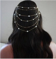 2014 Hand Made Pearl Tassel Headband Hair Combs Chain Headband Women's Hairbands Hair Accessories Hairwear