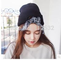 Korean  men and women spring and autumn Harajuku style paisley scarf cap wool knit hat hip hop cap