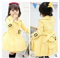 New 2014 Brand Girls Winter Coat Kids Cardigan Long Trench Wind Jacket Child Baby Clothing Dress 2 PCS  Kids Children Outerwear