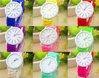 2014 new fashion Classic Geneva Silicone quartz Watch Jelly women Rhinestone dress watches free shipping