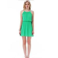 2014 summer new women in Europe and America European leg straps sleeveless dress wholesale irregular Chouzhe
