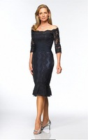 2014 Mother Dresses Sheath High Collar Half Sleeves Black Lace Knee Length Short Plus Size Mother Of the Bride Dresses