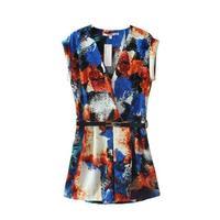 Free shipping new summer women's cross tie-dyed flower print V-neck jumpsuit belt