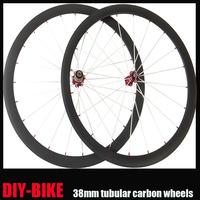 23mm Width 38mmTUBULAR 700c carbon fiber racing bicycle wheels Novatec hub Alloy external nipple  FREE SHIPPING