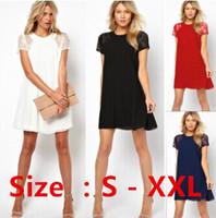 2014 spring summer new women clothing lace short sleeve white back chiffon sexy casual lace dress Plus size XXL Women's Dress