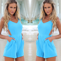 2014 European Grand Prix women's Jumpsuits European and American brands piece pants sexy backless lace waist short pants Siamese