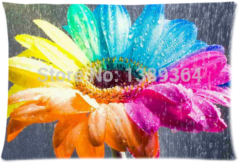 Custom sofa pillow case rainbow flower cushion cover pillow case 16x24 two sides for gift free shipping(China (Mainland))
