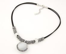 Long Necklace Opal Pendants Necklaces 2014 Fashion Necklaces For Woman Jewelry Vintage Antique Necklace With Double