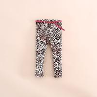 2014 hot sale children girl animal print leopard pencil pants with belt