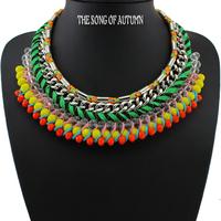 2014 New Za Brand Fashion Crystal Necklaces & Pendants Vintage Luxury Chunky Choker Big Collar Necklace Statement Women Jewelry